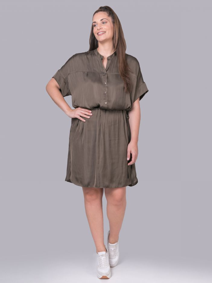 Satin shirt-dress with belted waist | Online Exclusive