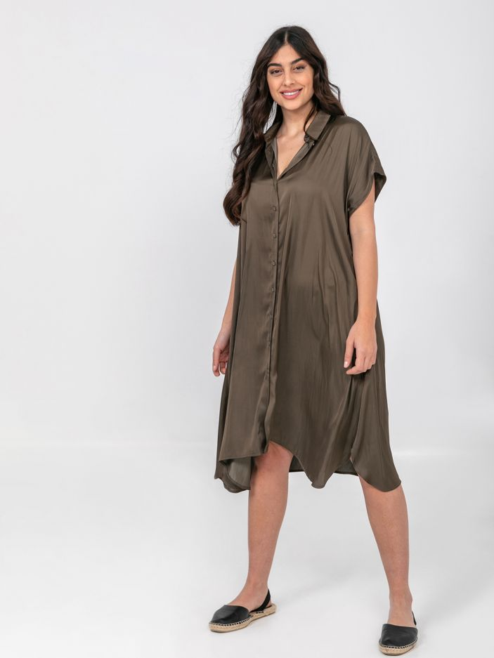 Satin shirt-dress