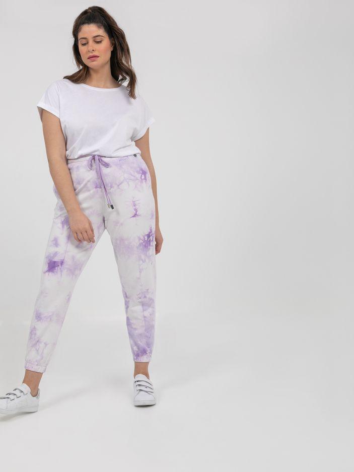 Joggers in tie-dye print LAVENDER