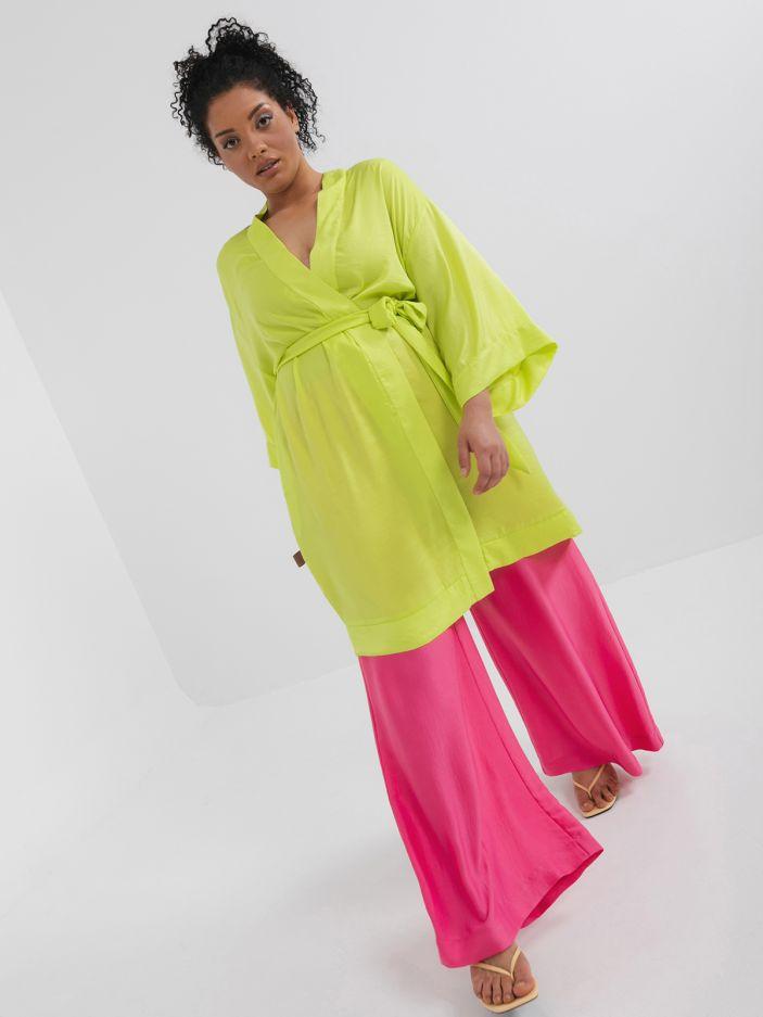 Satin kimono with pockets
