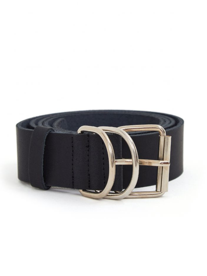 Leather belt with square buckle & circles