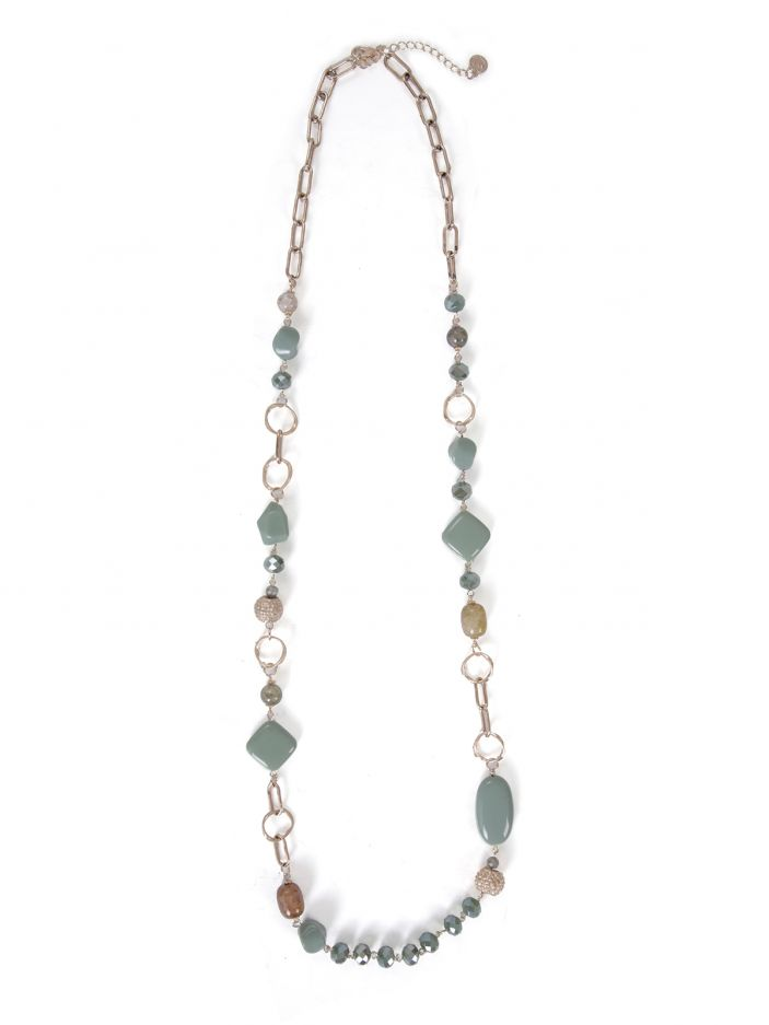 Long necklace with chains & stones
