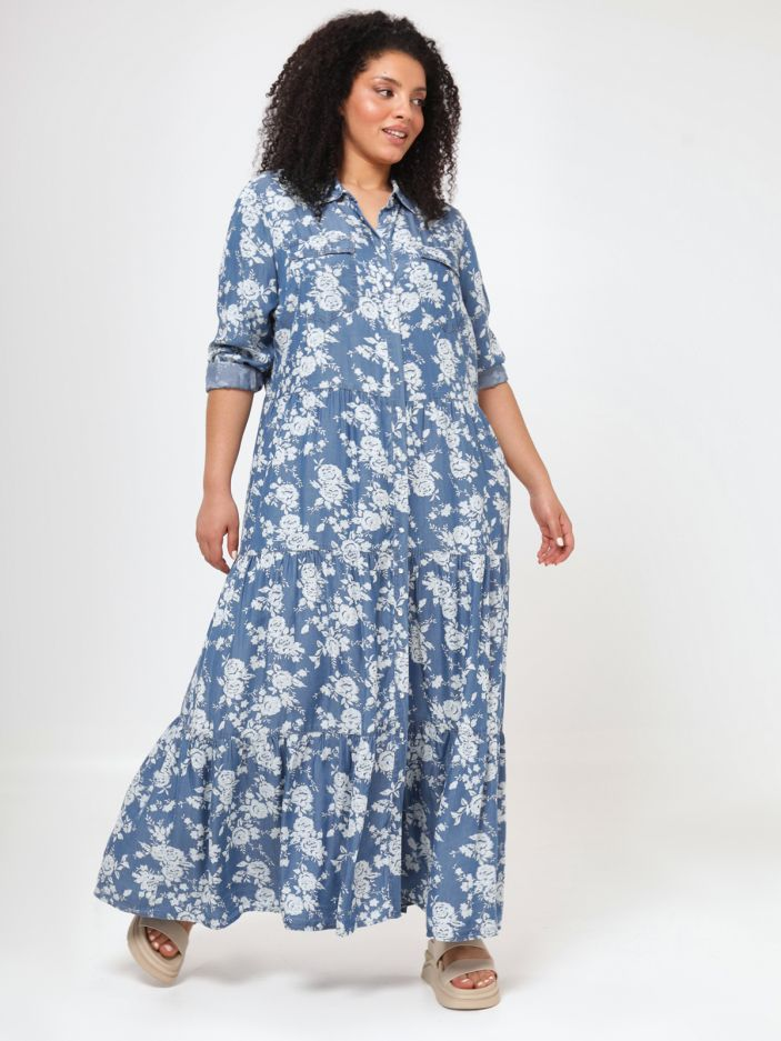 Lyocell maxi shirt-dress in floral print