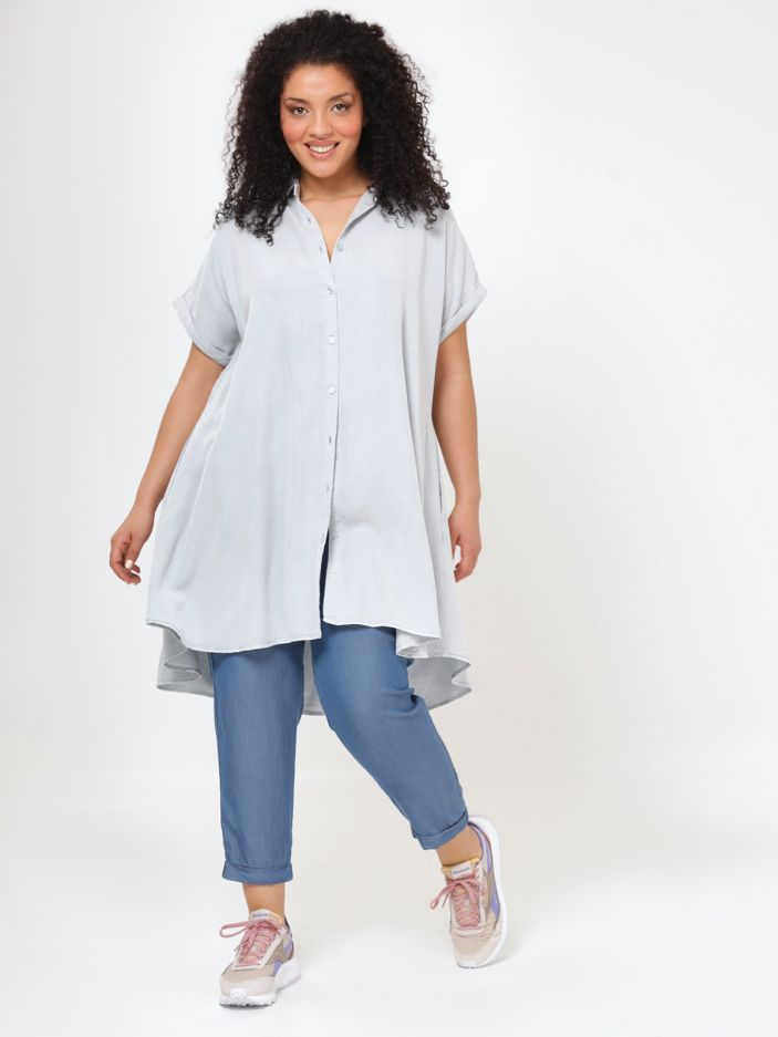 Lyocell shirt-dress in light denim wash