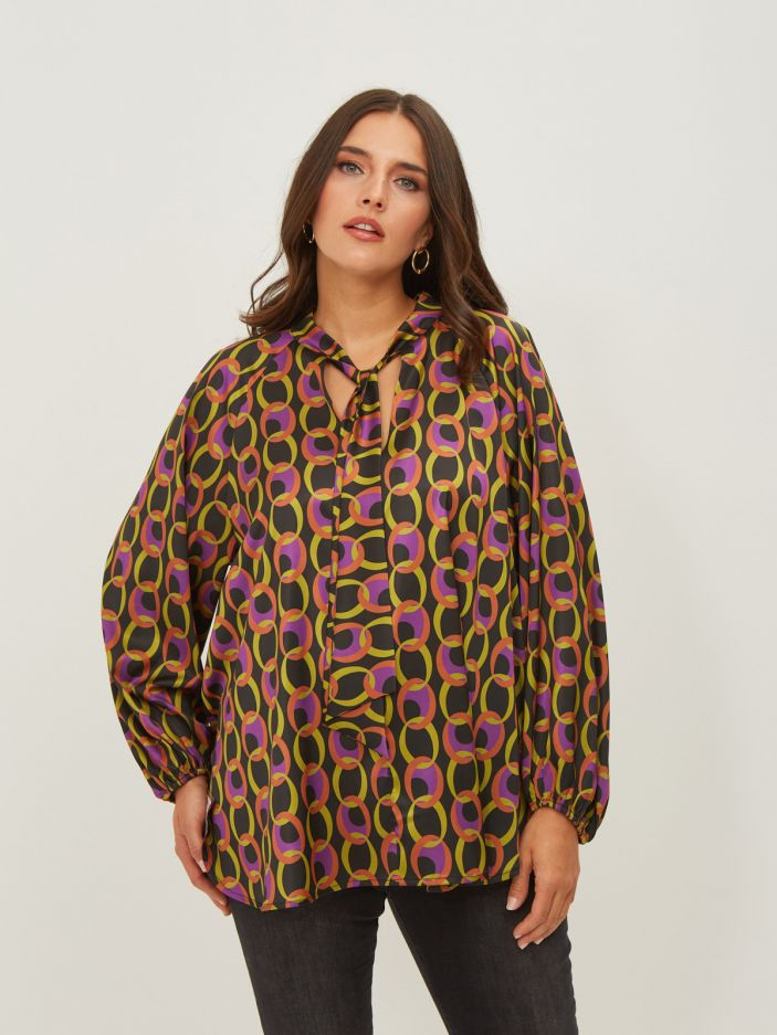 Graphic print blouse with neck ties