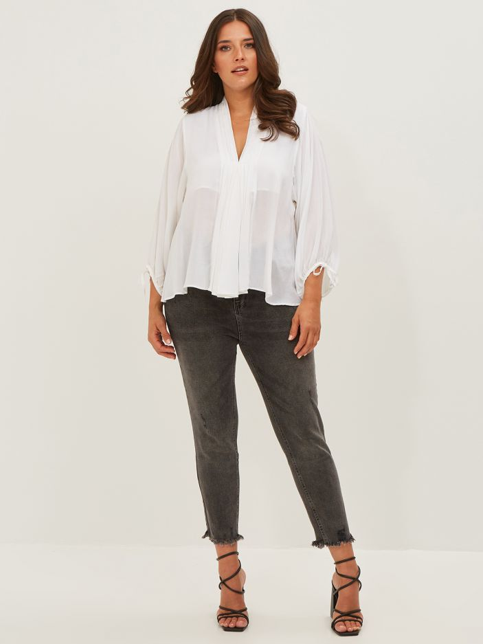 Viscose blouse with tied sleeves