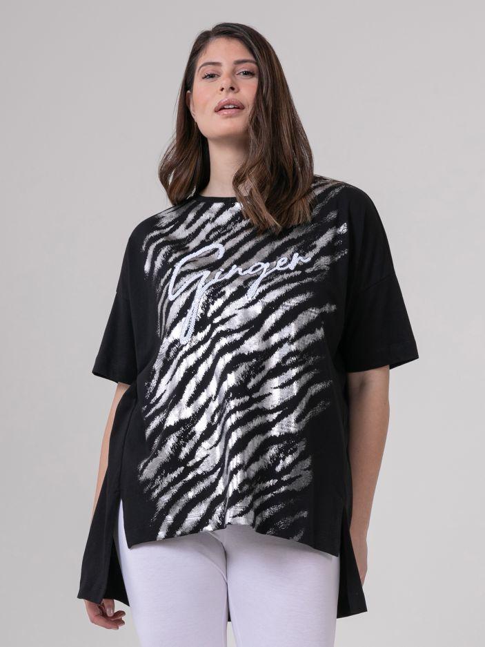 Cotton t-shirt with metallic print