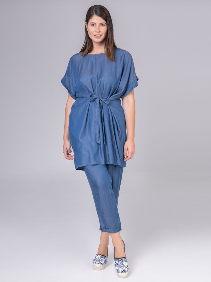 Lyocell tunic with self tie belt