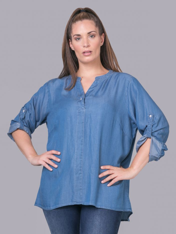 Lyocell top with button neck & sleeves