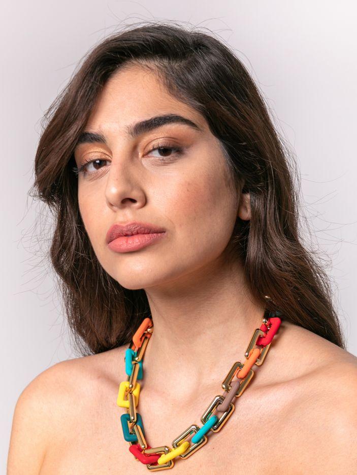 Multicolor chain necklace