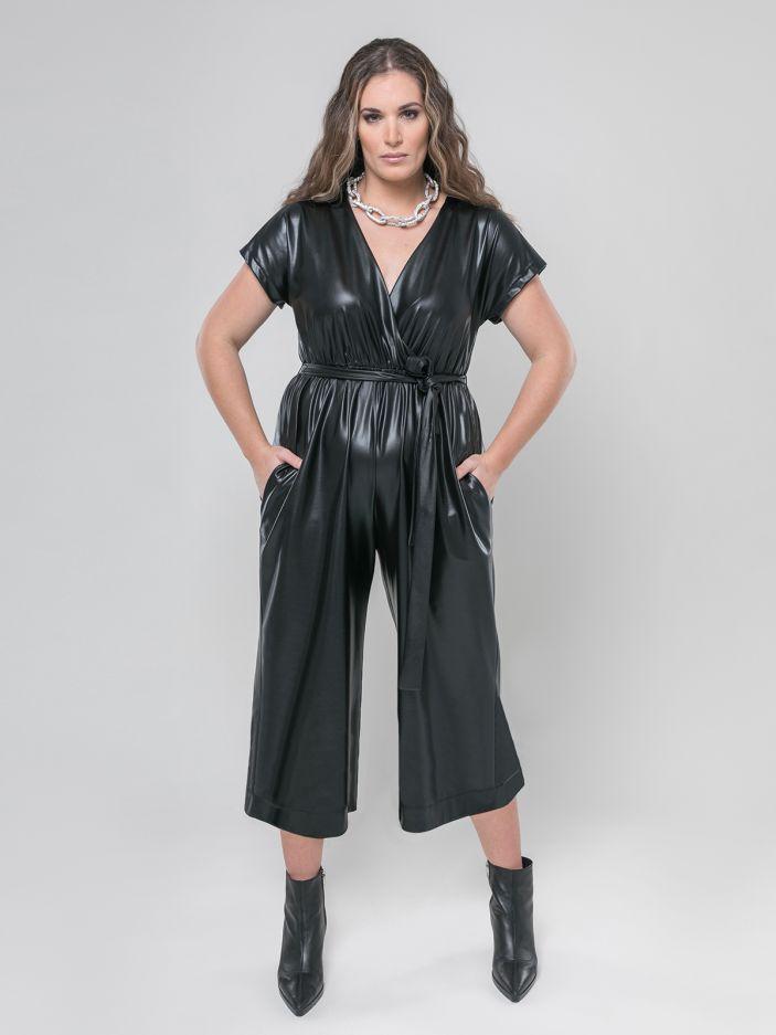 Wide-leg leather look jumpsuit