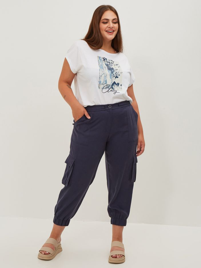 Lyocell tapered leg trousers