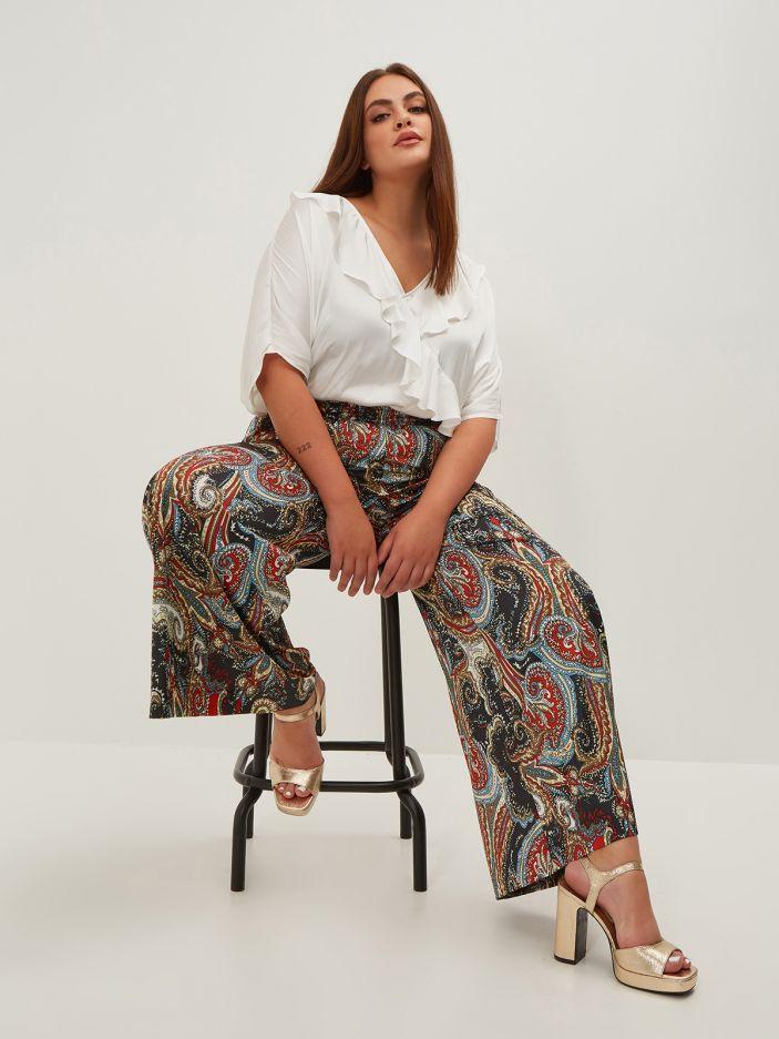 Paisley print satin palazzo pants