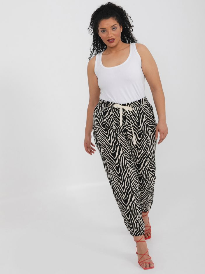 Zebra print tapered leg trousers