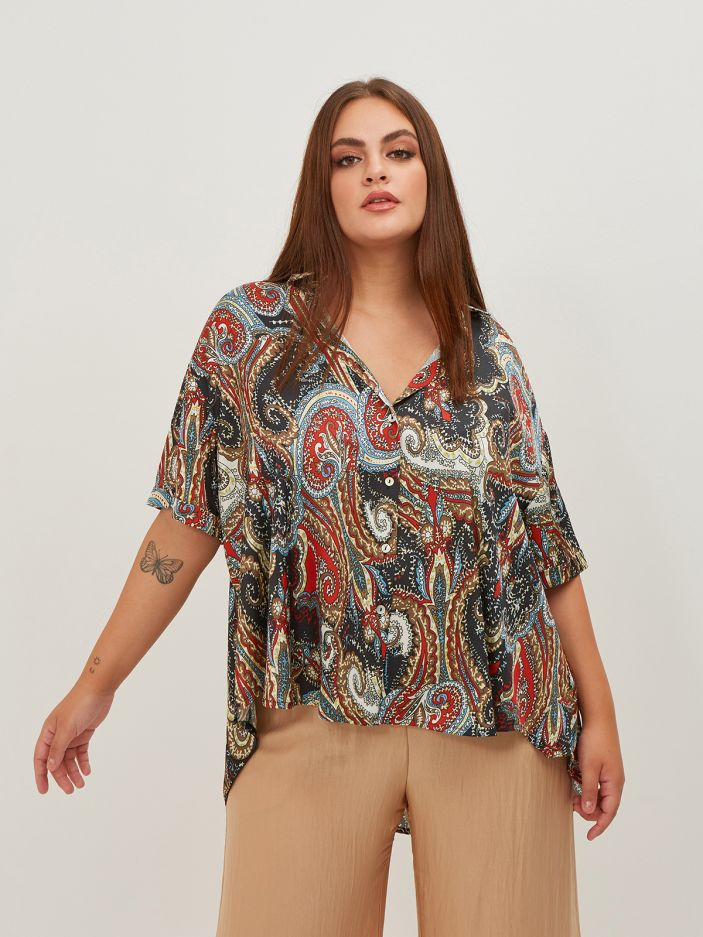 Paisley print satin shirt