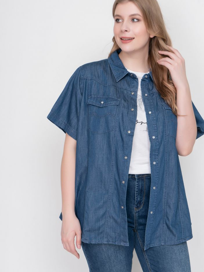 Denim short-sleeve shirt