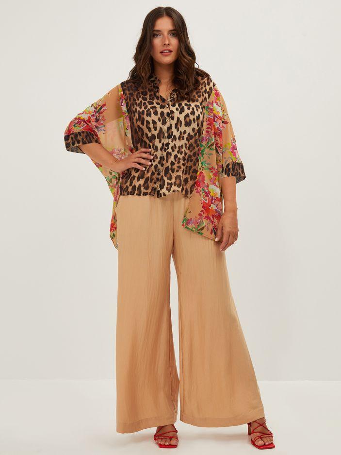 Asymmetric shirt in floral & leopard print