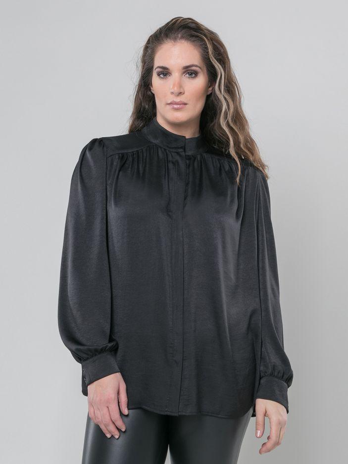 Satin balloon-sleeve shirt