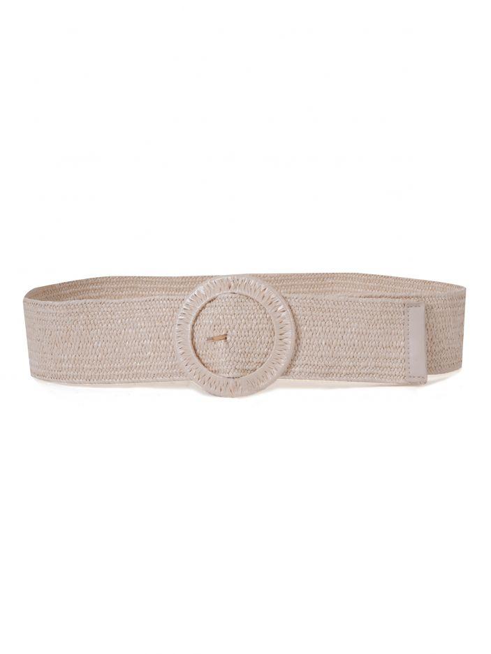 Raffia circle buckle belt