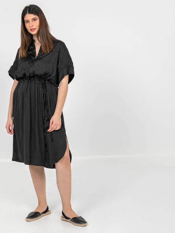Σεμιζιέ φόρεμα σατέν με ζώνη