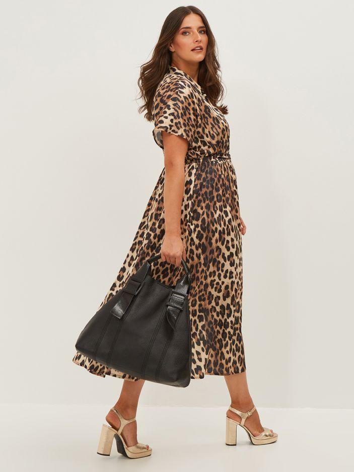 Shopper bag with snakeskin handles