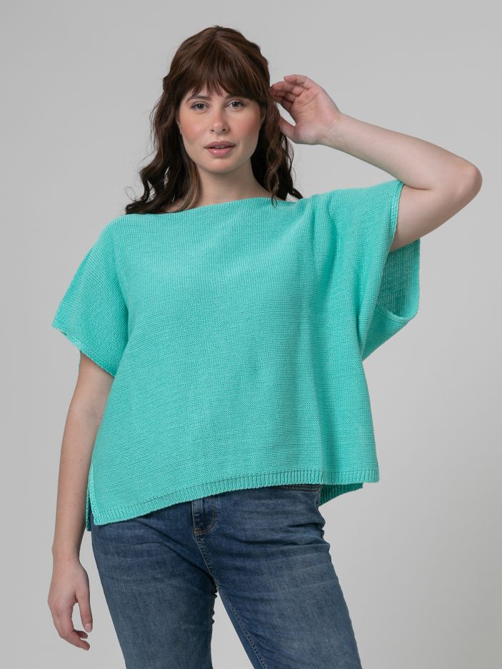 Short-sleeve boat-neck jumper in aqua blue