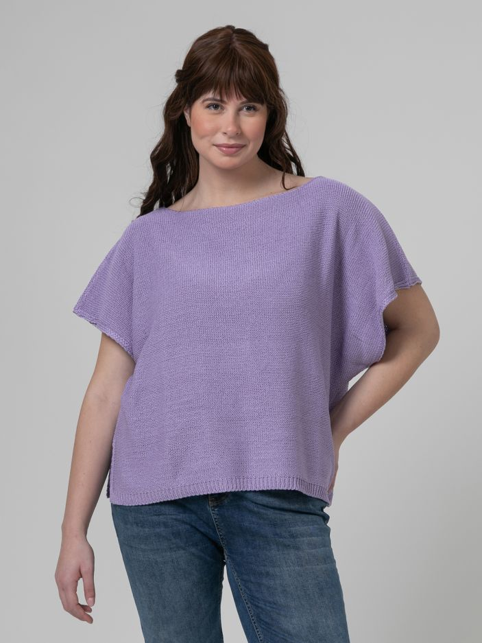 Short-sleeve boat-neck jumper in lilac