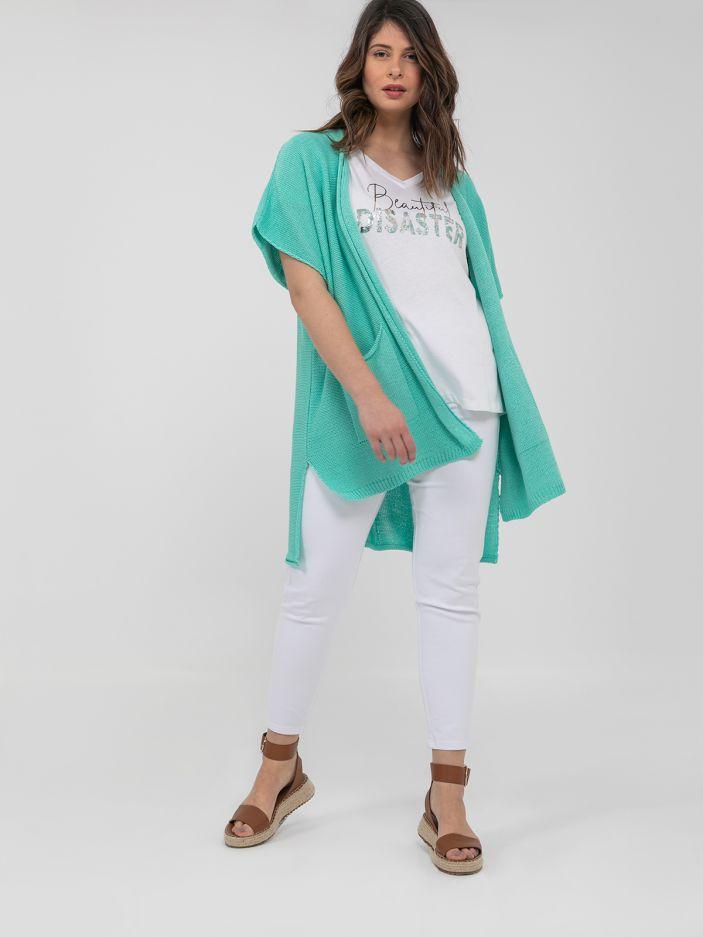 Short-sleeve cardigan with pockets