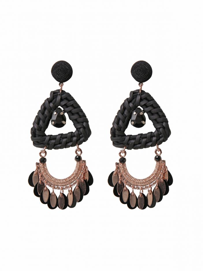 Raffia & charms drop earrings