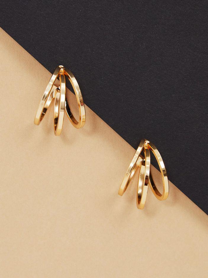 Gold-tone hoop earrings in triple row