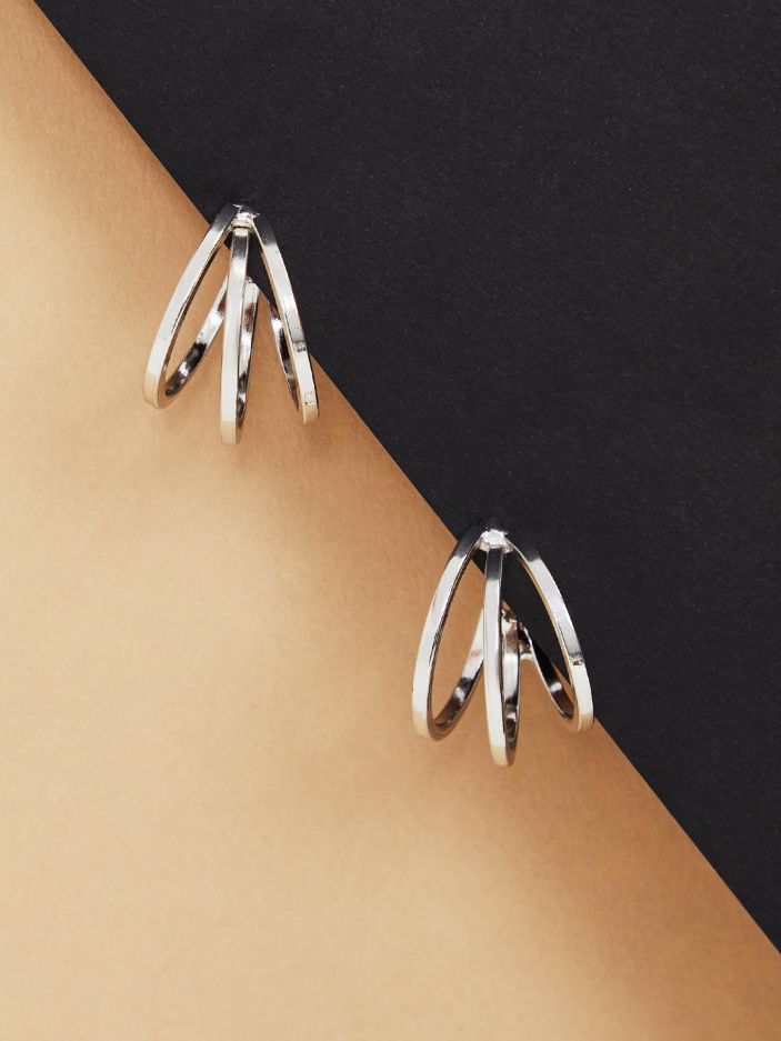 Silver-tone hoop earrings in triple row