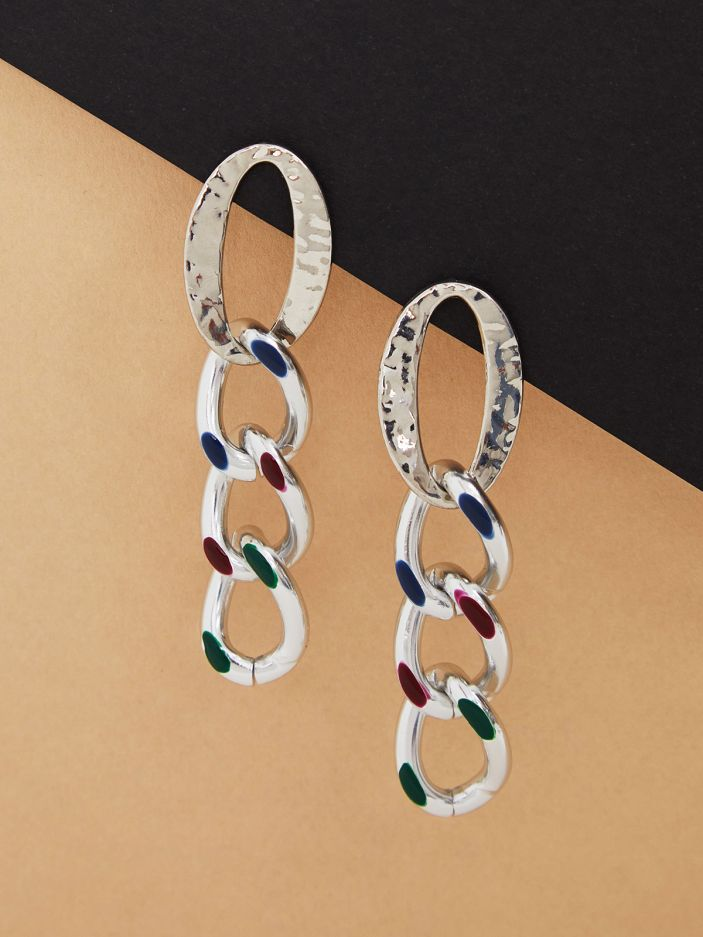 Chain silver-tone earrings