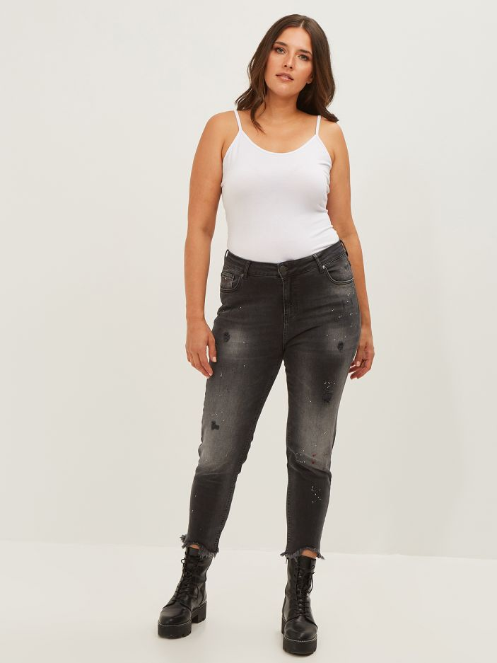 Cigarette paint splatter jeans