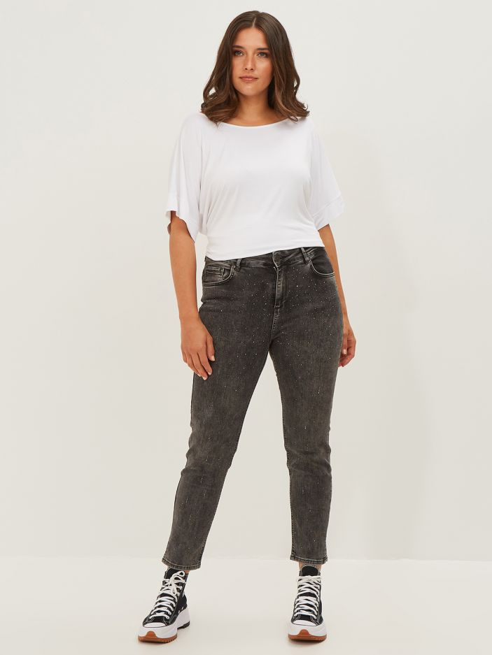 Strass-detailed cigarette jeans