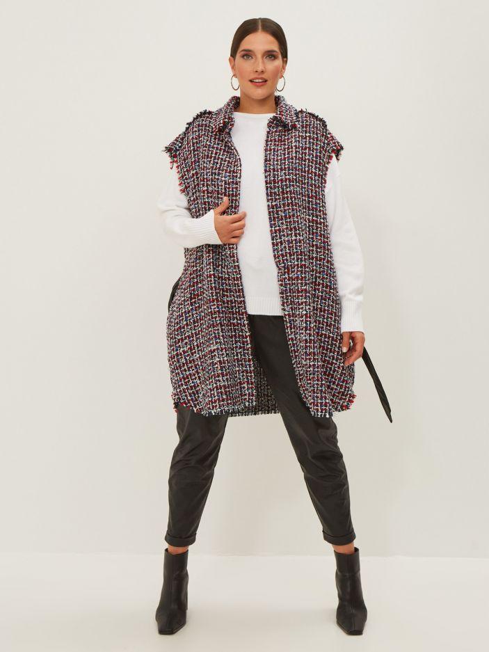 Tweed sleeveless jacket