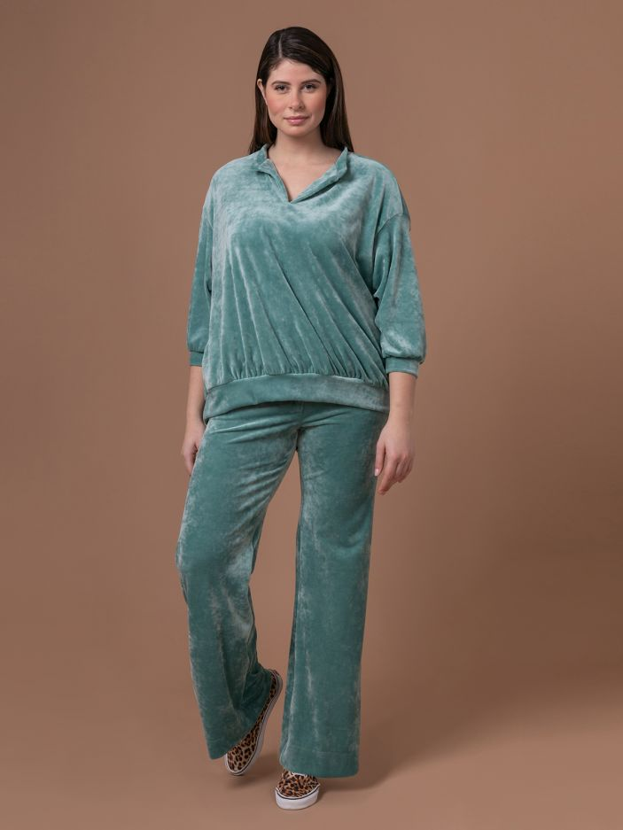 Velour balloon-sleeve sweat