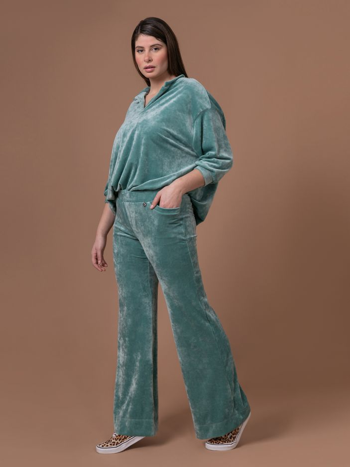 Velour bootcut trousers in aqua blue