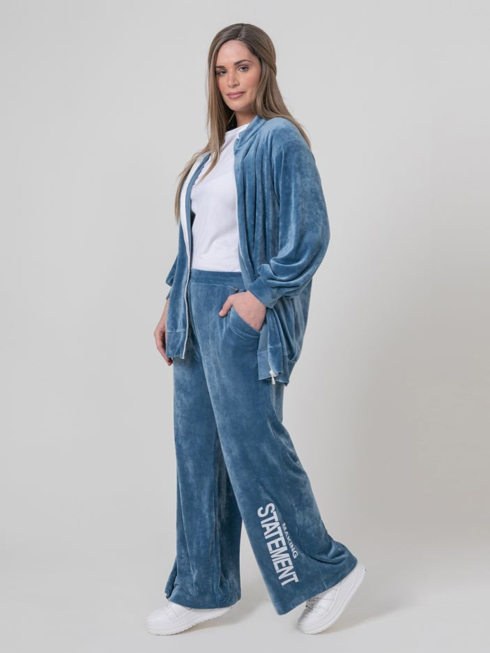 Velour bootcut trousers with print