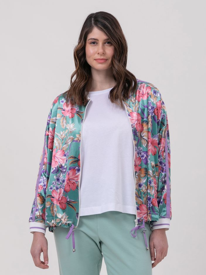 Velour jacket in floral print