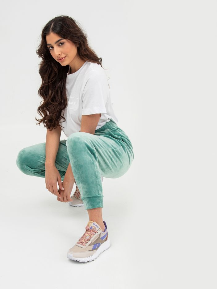 Velour joggers in aqua blue