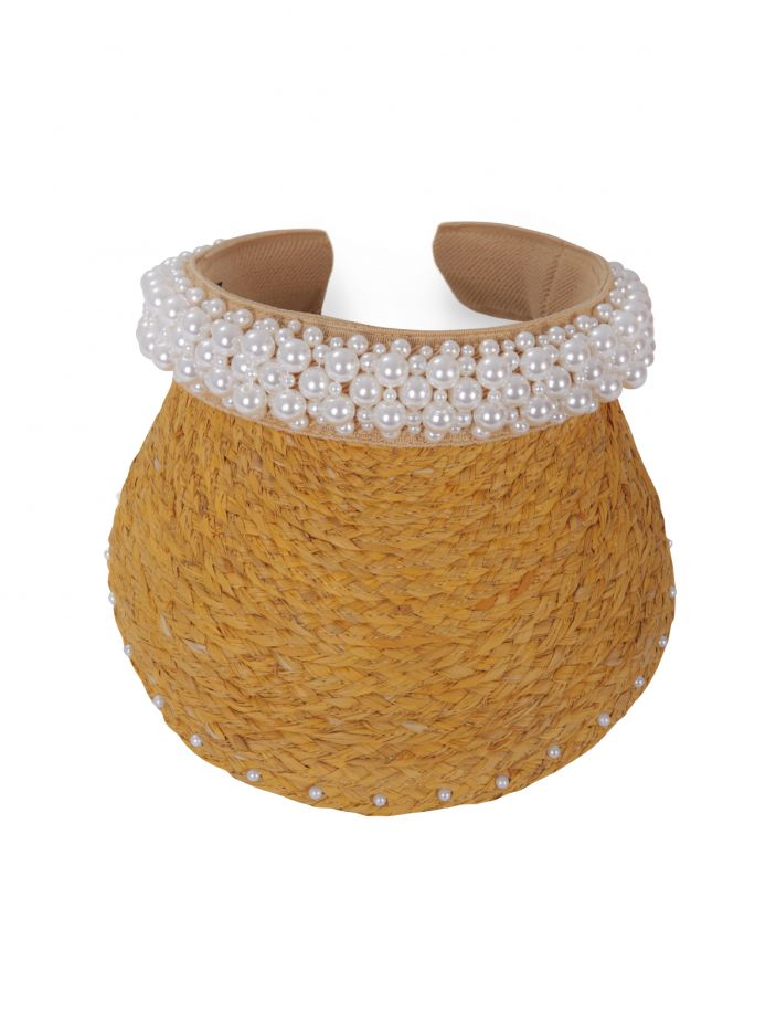 Visor straw hat with pearl embellishment YELLOW