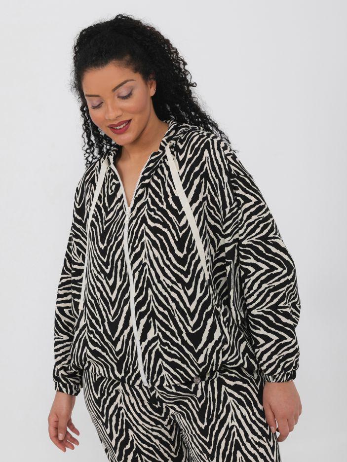 Zebra print hoodie jacket