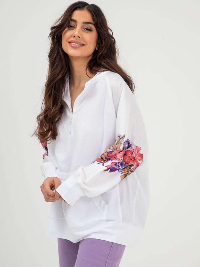 Μπλούζα φούτερ με σατέν μανίκια