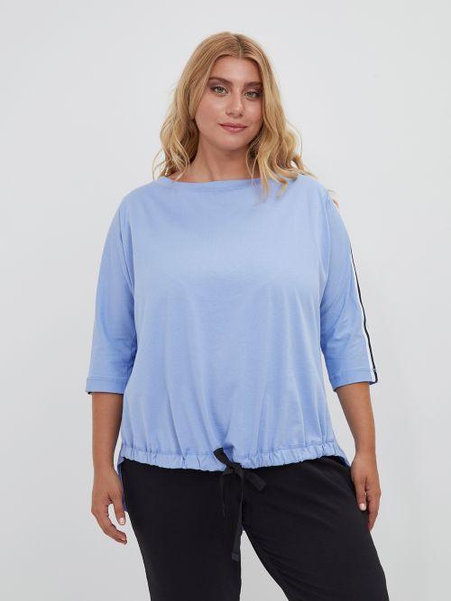 Βαμβακερή μπλούζα με δέσιμο στο τελείωμα