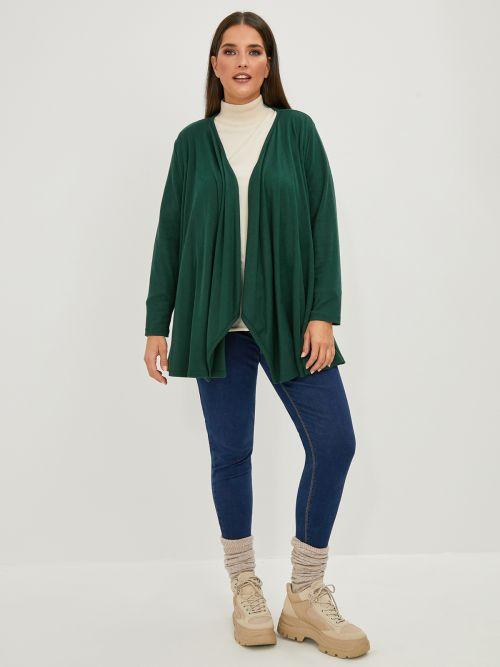 Asymmetric fine-knit cardigan