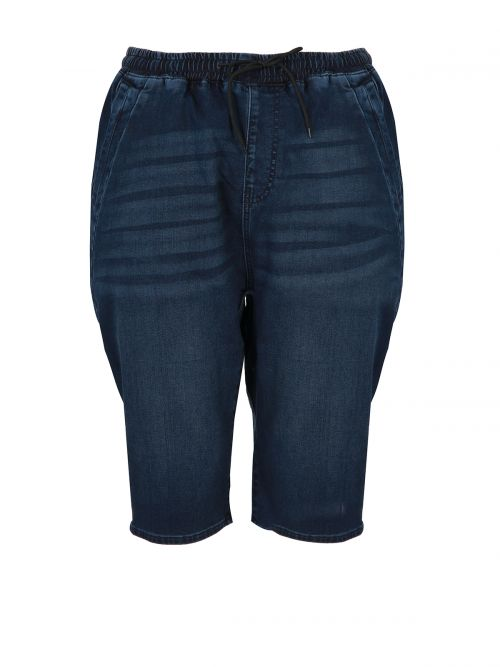 Baggy bermuda jeans with elasticated cuff