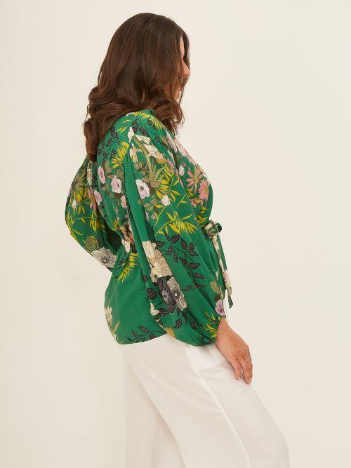 Balloon-sleeve kimono in floral print