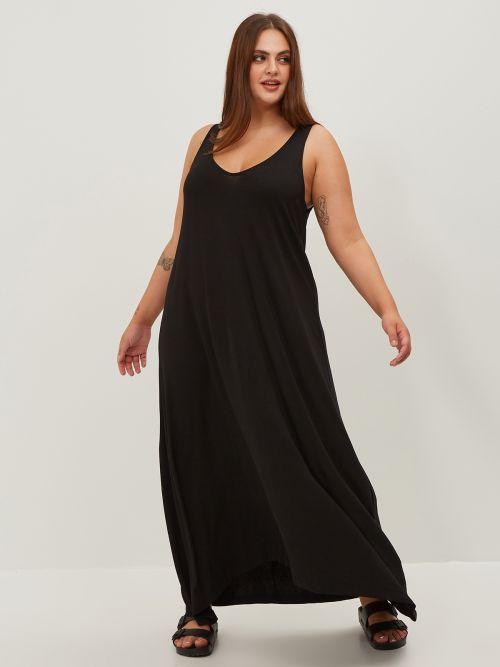 Basic maxi viscose dress in black