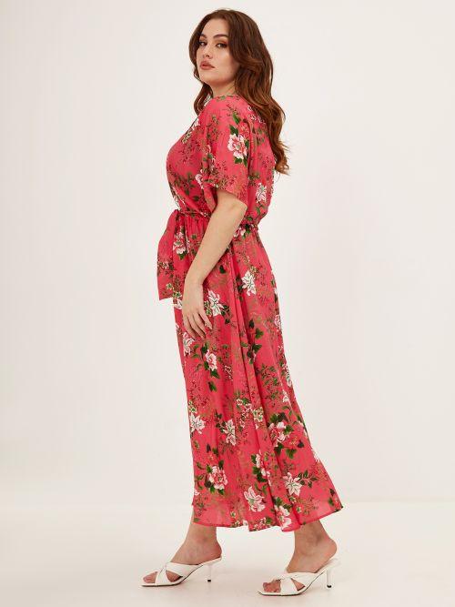 Φόρεμα σατέν φλοράλ με ζώνη