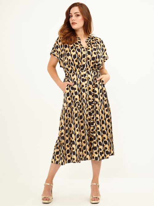 Belted shirt-dress in graphic print